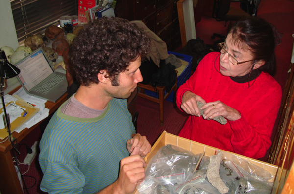 Elisabeth Vrba (right) and her then-student Faysal Bibi at the National Museum of Ethiopia in 2008, examining finds from the Middle Awash field study area. Photo (c) and courtesy of Tim White.