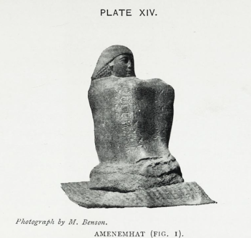 Figure of Amenemhat. Photo: Margaret Benson. From 'The Temple of Mut in Asher' by M. Benson and J. Gourlay.