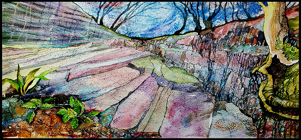 Charnwood Quarry, original artwork by Tina Negus. Used with kind permission.