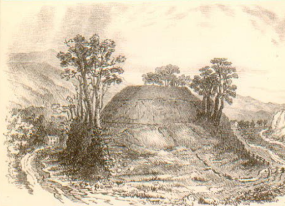 "Drawing of Keir Hill, Gargunnock, by Christian around 1870. Maclagan, Miss C, ""On the Round Castles and Ancient Dwellings of the Valley of the Forth, and its Tributary the Teith."" Proceedings of the Society of Antiquaries of Scotland, 9 (1870-72): 29–44. Available online at AHDS"